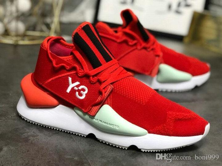 الجملة أحدث مصمم أحذية رجالية GZFOG Y3 Kusari الاحذية Y-3 مخطط أبيض أحمر موضة الاحذية مع صندوق