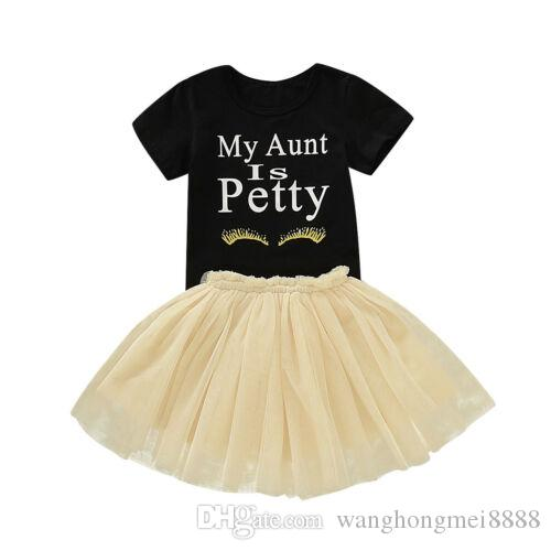 Baby Skirt Set 2019 2pcs Newborn Kid Baby Girl clothes round neck short sleeve letter print Top +Tutu Skirt Baby Clothes Outfit
