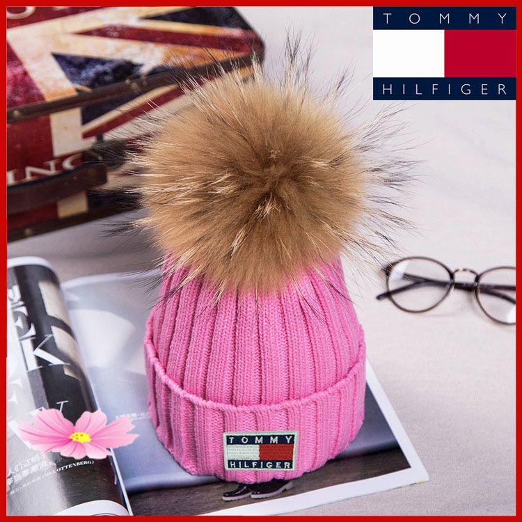 Classique Mode Noble populaire Pompons Les femmes avec le Real Raccoon d'hiver Chapeau Casquettes tricotés chaud Femme unisexe Chapeaux casquettes