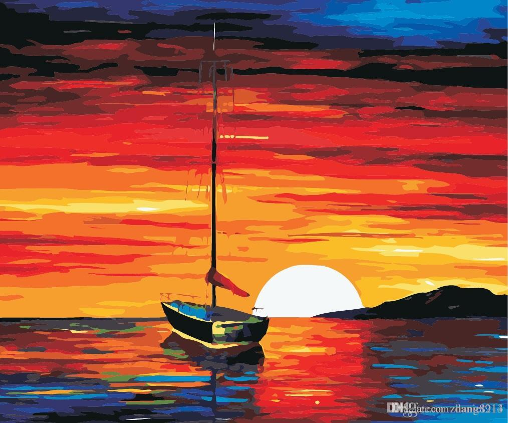 16x20 inches DIY Vintage Sailing back Sunset in the Night Ocean Scenery Paint by numbers Kit Art Paintings Acrylic Oil painting on Canvas