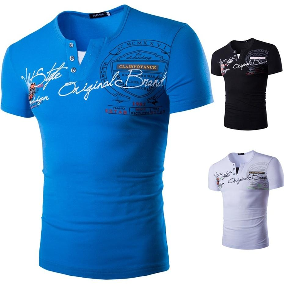 ZOGAA 2018 Высокое качество Brand Men T рубашка с коротким рукавом Повседневная V-образным вырезом моды Ситца Tshirt Man Tee Shirt XS-4XL