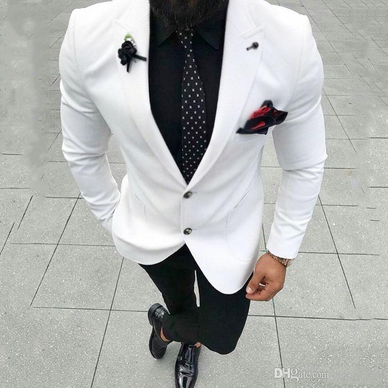Buon mercato e benissimo Due pulsanti Groomsmen picco risvolto smoking dello sposo abiti da uomo da sposa / Prom / Cena Best Man Blazer (Jacket + Pants + Tie) A516