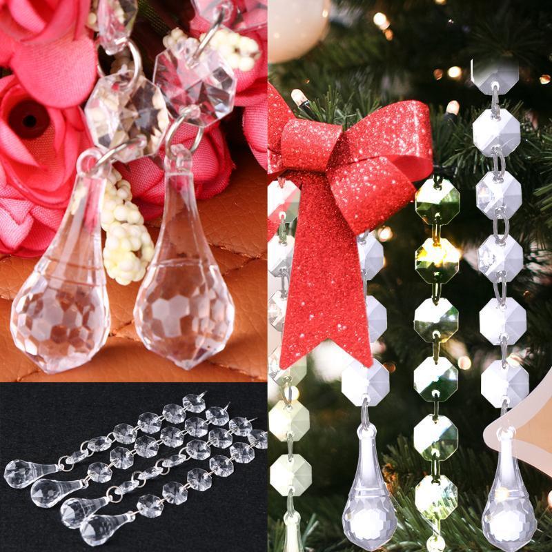 12pcs Transparent Acrylique perles rideau de bricolage Décor de mariage en cristal de diamant Perles en guirlande fenêtre rideau 15cm Scarfs