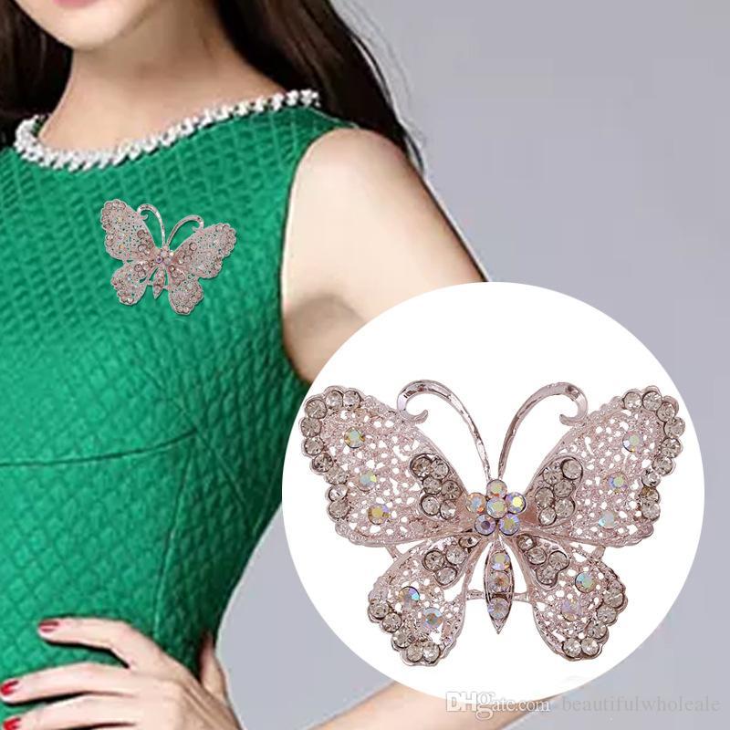 Broşlar kristal kelebek Korsaj Rozeti Pimleri için Takım Elbise Düğün J Kadınlar için Moda Sevimli Broş Pin Broşlar Iyi Hediye Broş