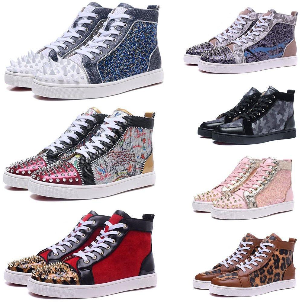 2020 Red Bottom Дизайнерская обувь Мужчины Женщины шипованных Шипы Повседневная обувь Мода Insider кроссовки Black Red White Leather Luxury High Boots