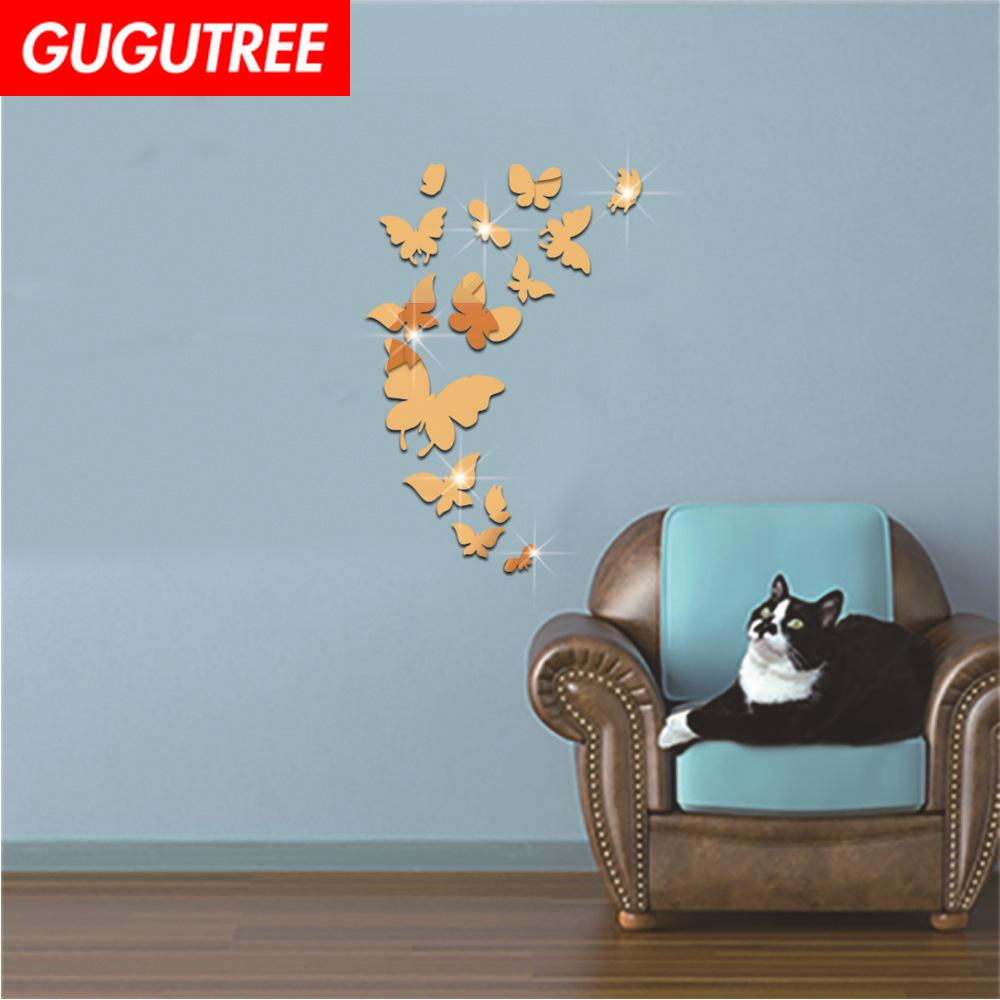 Decorate Home 3D buttlefly cartoon mirror art wall sticker decoration Decals mural painting Removable Decor Wallpaper G-285