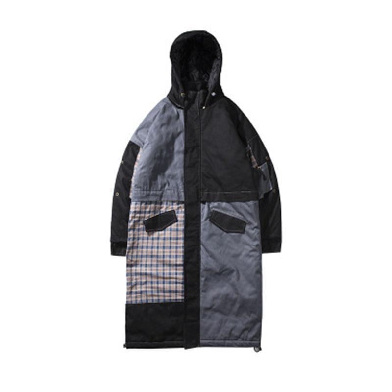 2018 neue männer retro nähte langen mantel baumwolle street fashion lose kapuze karierte jacke jugend hemd GB005