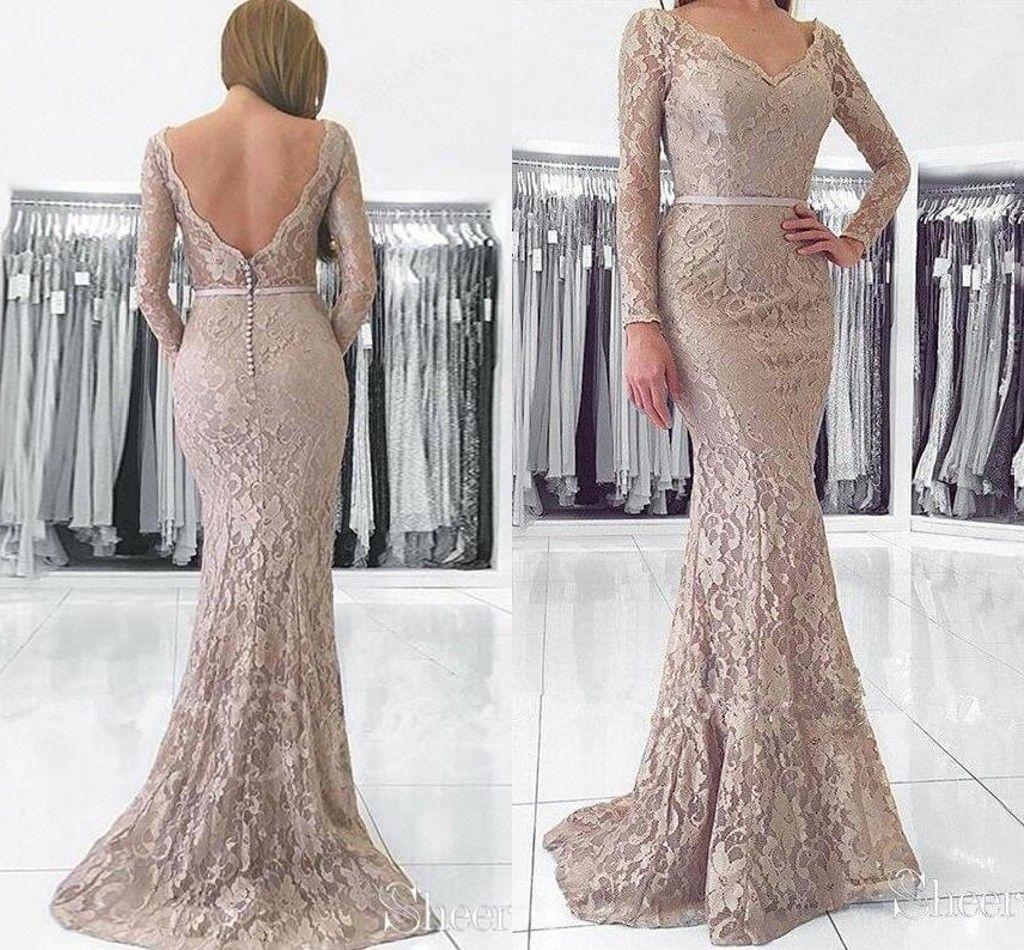Großhandel Lange Ärmel Meerjungfrau Abendkleider Tragen Kleider 9 Volle  Spitze Rückenfrei Trompete Plus Size Prom Party Dress Von Alegant_lady,