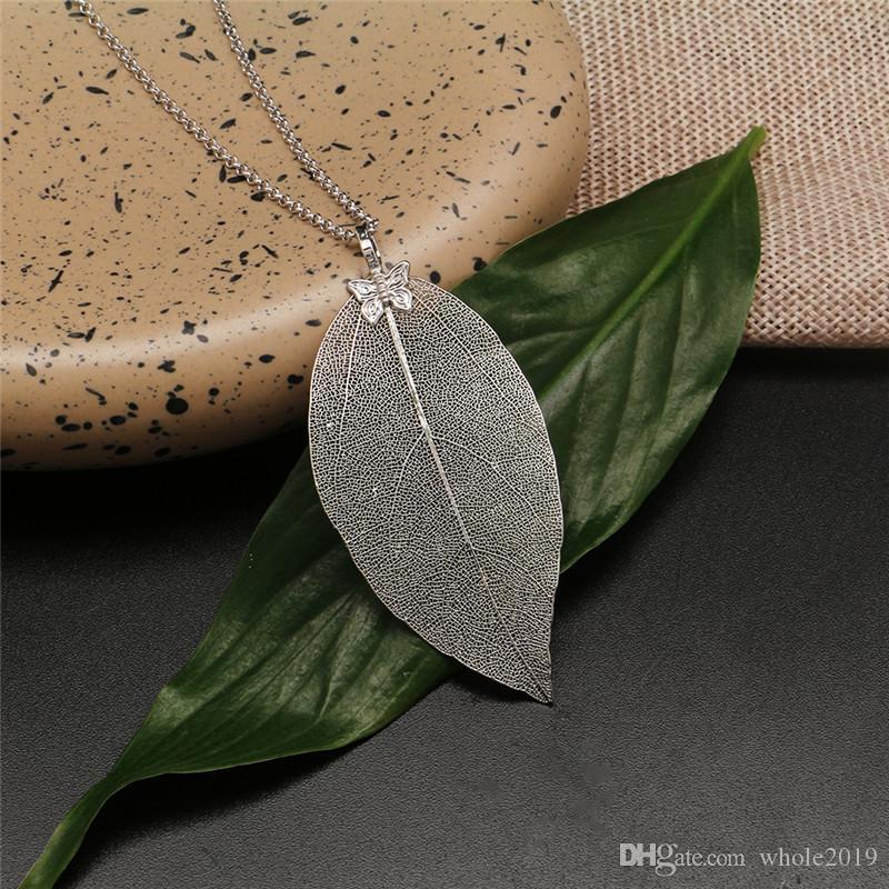 Мода Природные листьев ожерелье для женщин ручной работы настоящих листьев Ожерелье Женщины Воротник цепи 6 цветов ювелирных изделий партия подарков