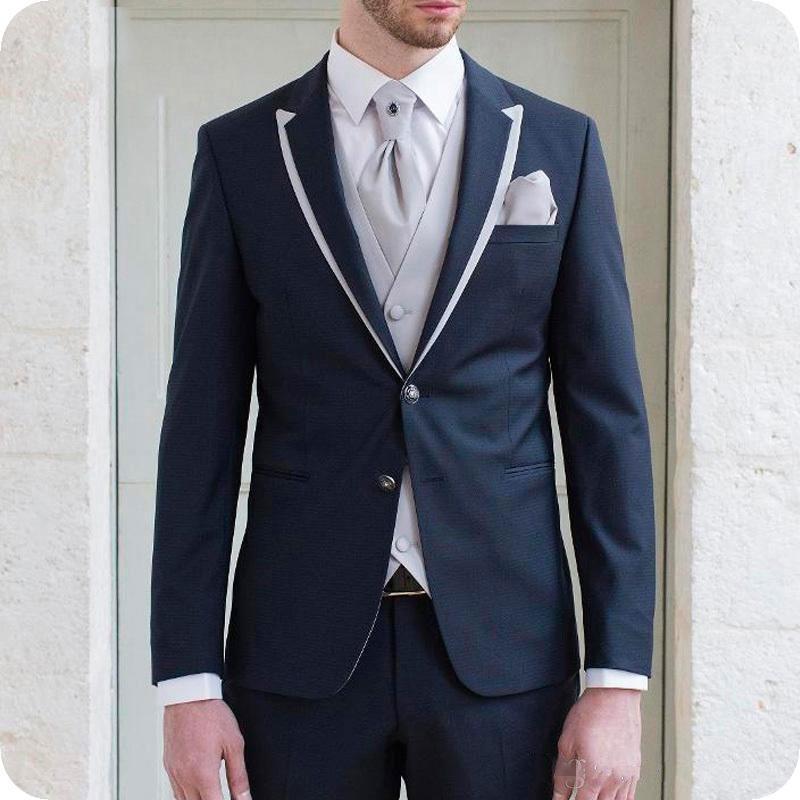 Homens azuis Ternos De Casamento 2019 Branco Pico Lapela Do Noivo Smoking Homem Magro Blazers Jacket 3 Peças Últimas Casaco Calças Projetos Traje Homme