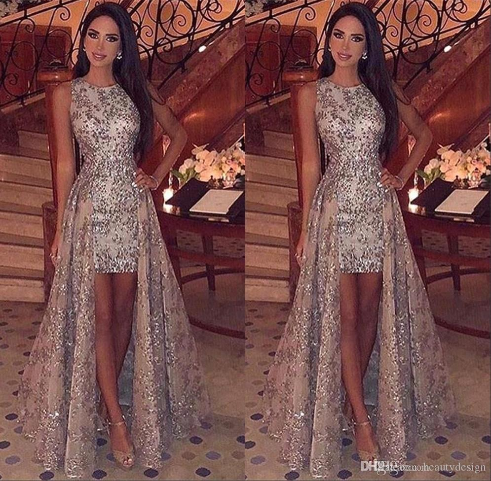 Bling Crew Neck Full Sequins High Low Prom Dresses Sparkling Sleeveless Lace Sweep Train Long Formal Party Evening Gowns BC1955