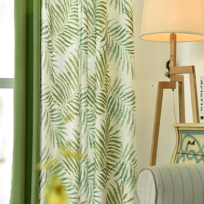 거실 침실 창 문 주방 홈 장식 커튼 커튼을위한 열대에 Plam / 펀 리프 그린 블랙 아웃 커튼