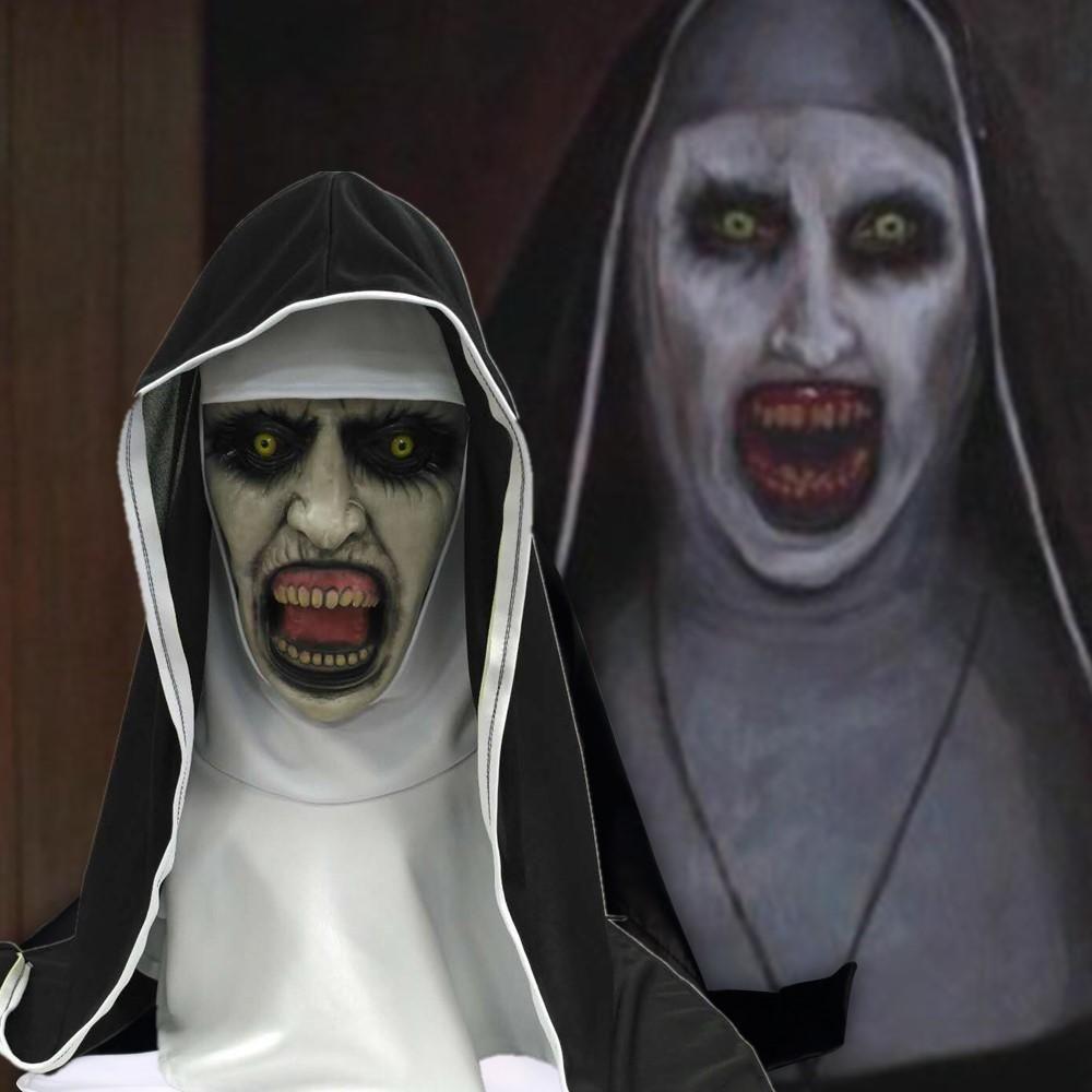 The Conjuring 2 Mask Scary Nun Masks Cosplay Valak Horror Латексные Маски С Платком Анфас Шлем Хэллоуин Реквизит Для Вечеринок