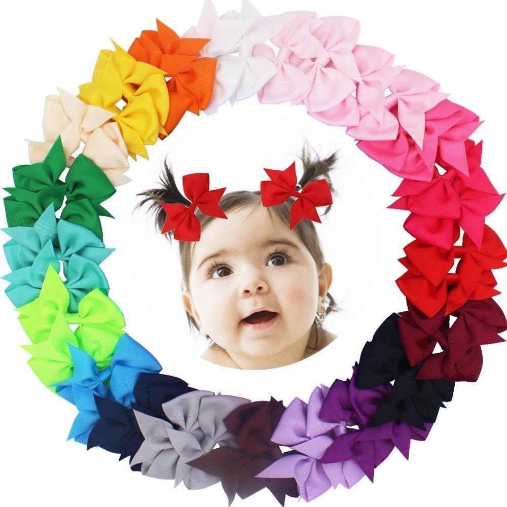 "40pcs (20Pair) 3.5"" Boutique Hair Bows Girls Kids Children Alligator Clip Grosgrain Ribbon Headbands 20 Colors"