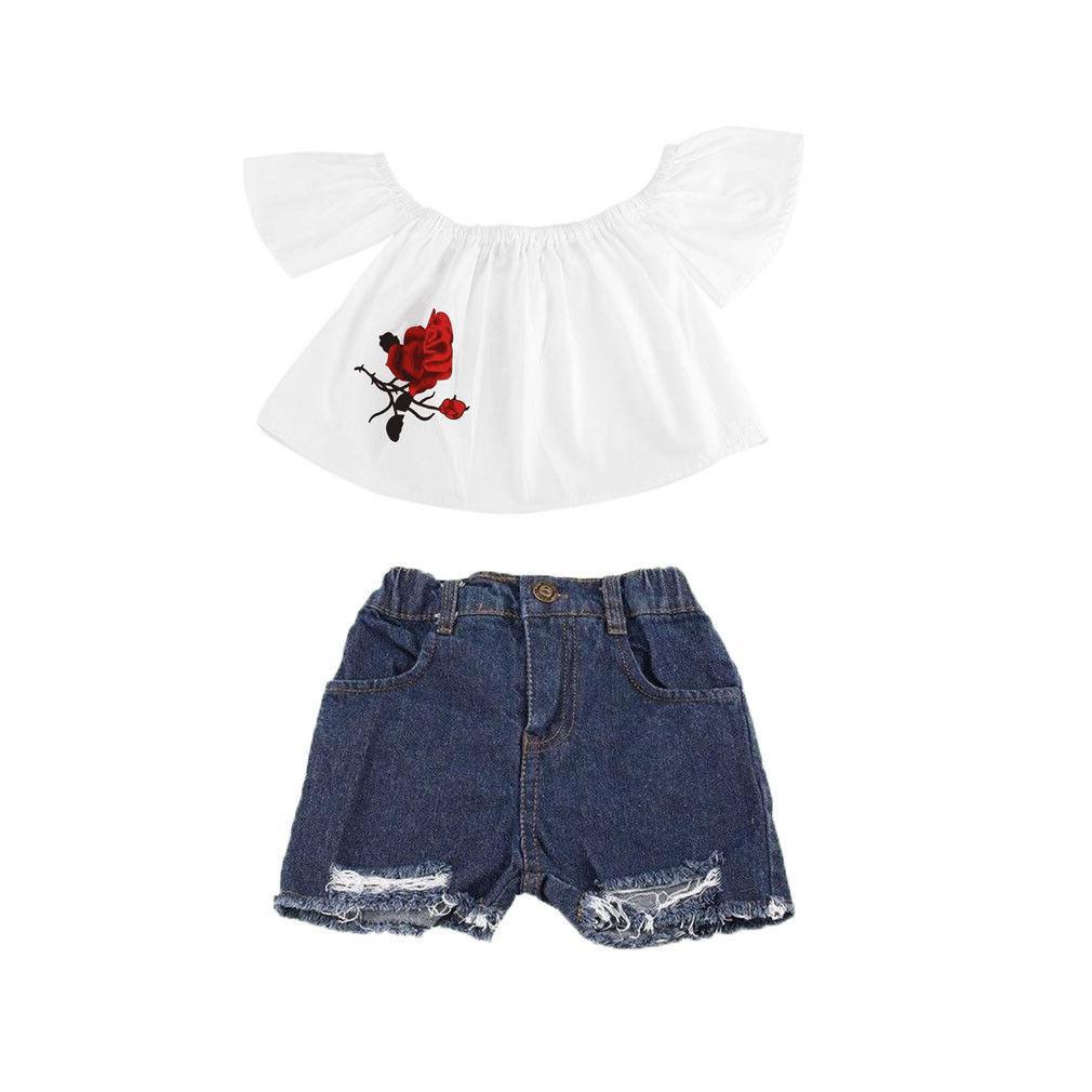 2pcs Joven Bebé niñas Hombro ropa Top floral blanco de la camiseta + los pantalones cortos del dril de algodón del agujero de los equipos fijó el juego ocasional