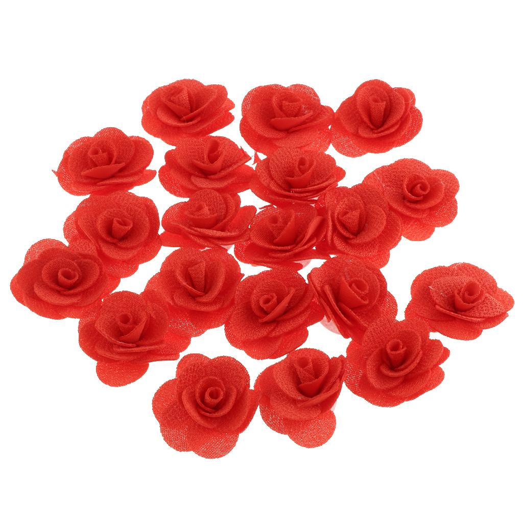 20x Artificial Silk Rose Flowers Heads Buds Petals Bouquets Craft Wedding Decor