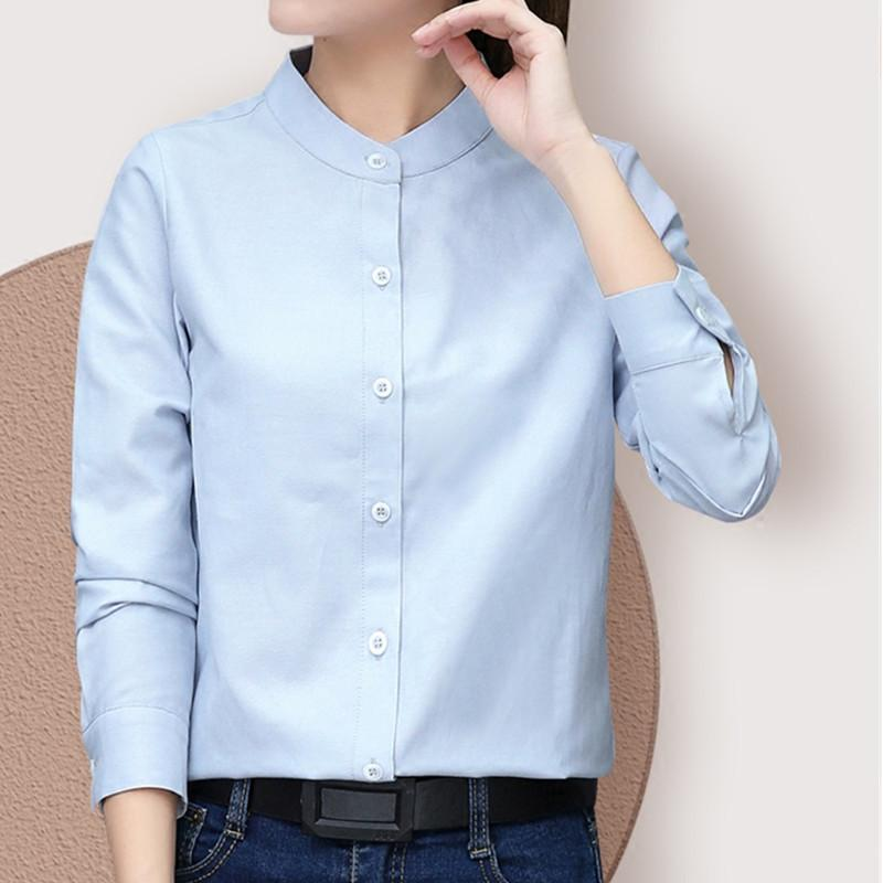 Long Sleeve White Blue Womens Oxford Shirts Plus Size 2019 New Casual Woman Office Blouse Female Wear High Quality Ladies Tops MX200407