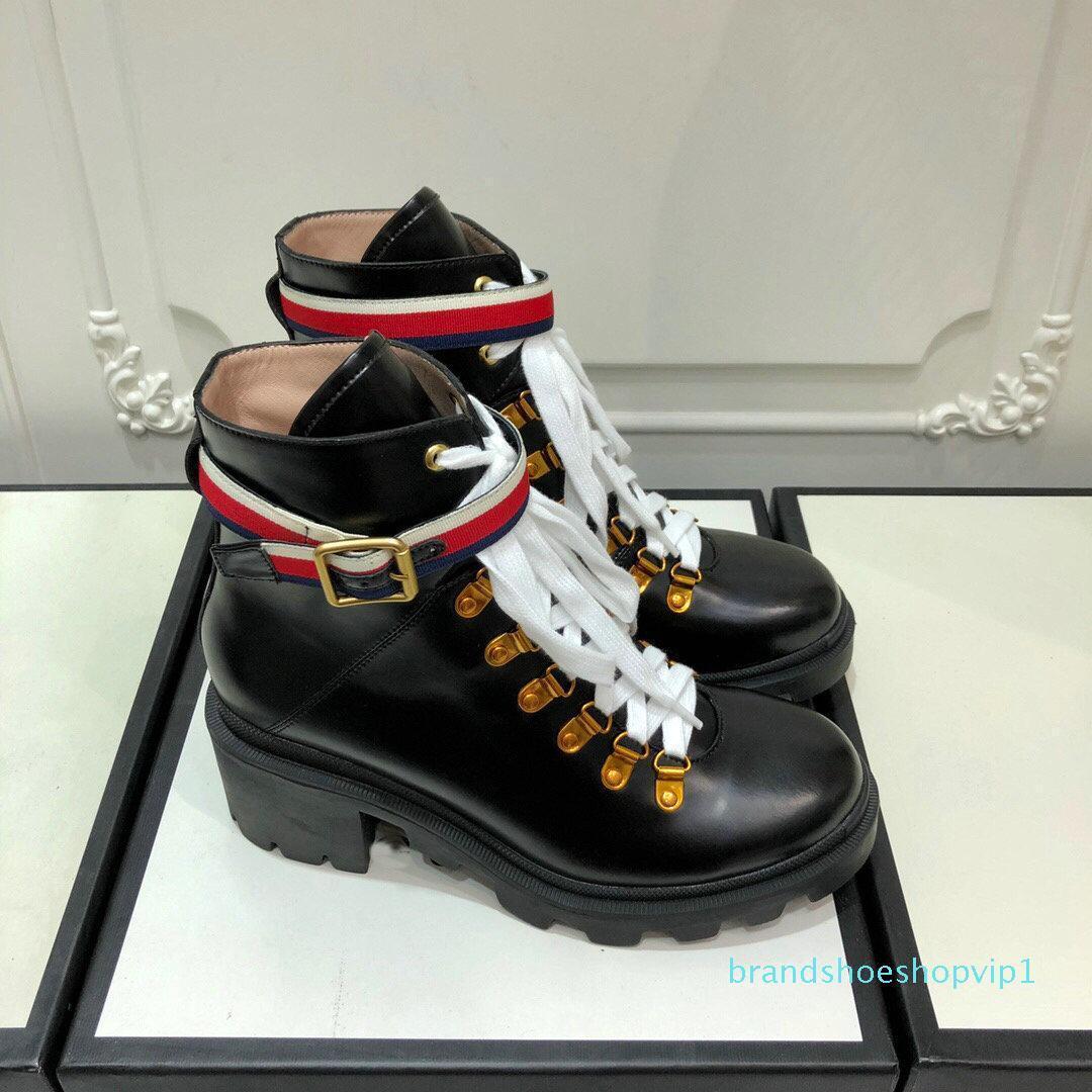 La venta caliente para mujer botas de diseño de lujo negro de arranque de tobillo de cuero con hebilla de correa del cinturón de Sylvie negro suela de goma botas cómodas EUR35-43