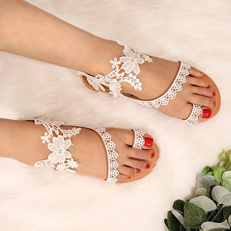 Sandálias do verão Sandálias Mulheres cor sólida Lace Abrir casamento Toe Além disso, 43 Boho Mujer colorido Feminino Praia Flat Shoes Tamanho