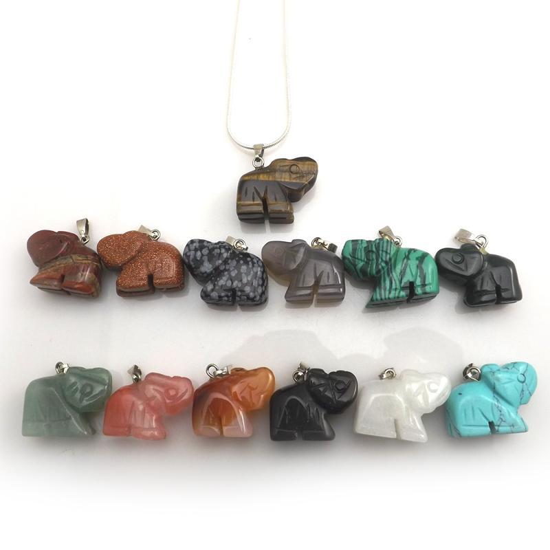 Mixed Lot Natural Stone Elephant Pendant Silver Color Chokers 12pcs/lot