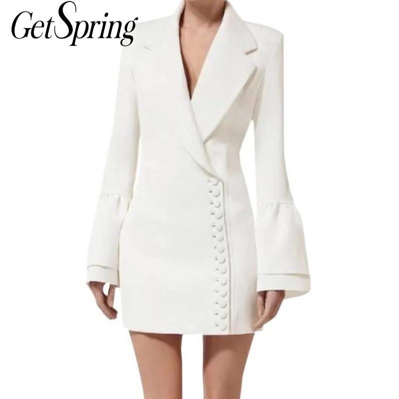 GETSPRING Kadınlar Elbise Flare Kol Siyah Beyaz Blazer Elbiseler Artı boyutu Vintage Seksi Siyah Beyaz Blazer Elbise 2020 Kadın Giyim