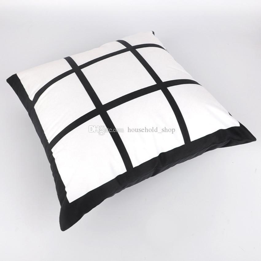 Sublimação Pillowcase 45 * 45 centímetros da manta Pillowcover poliéster sublimar preto e branco da manta Pillow Almofada transferência de calor de impressão A02