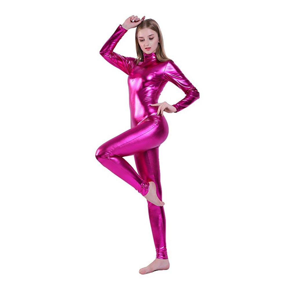 SPEERISE femmes Silver Metallic Catsuit manches longues Unitards Full Body Zentai Lycra Spandex Danse Gymnastic Stagewear Unitard