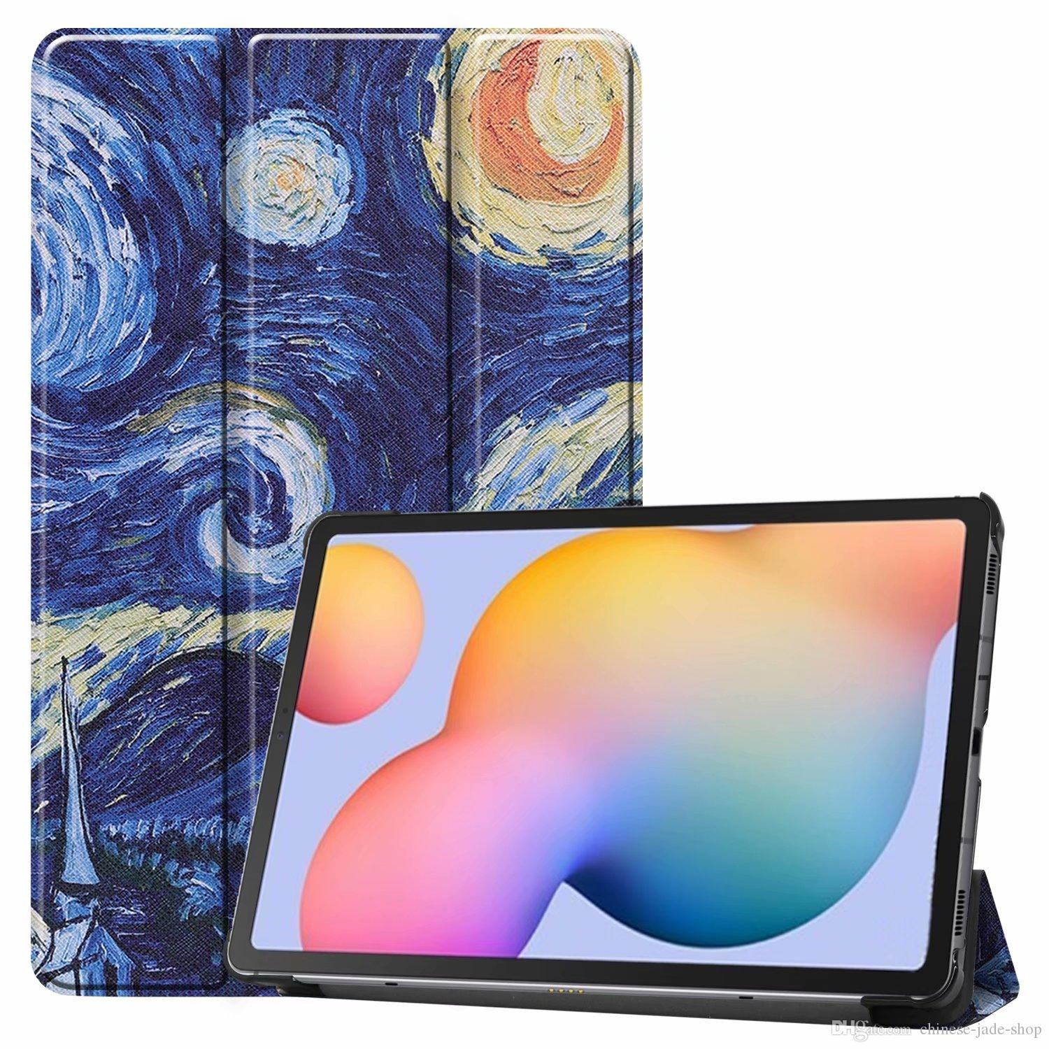 Painting Star Butterfly Galaxy Tower Magnetic Trifold Leather Case Tablet For Samsung Galaxy Tab S6 Lite 10.4 100PCS/LOT