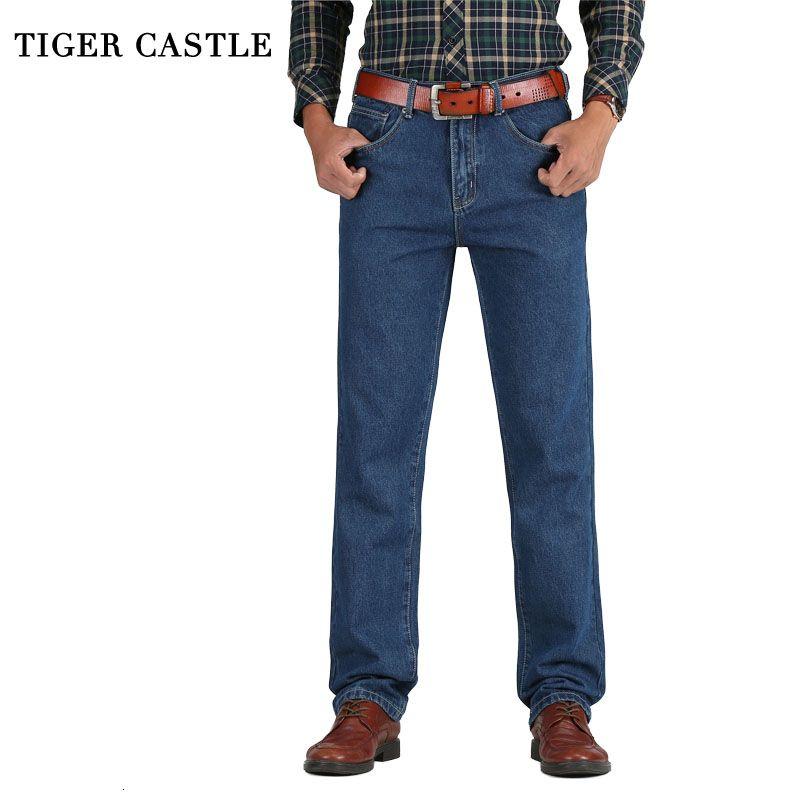 2019 Uomini Cotone Etero jeans classici Primavera Autunno Maschio denim Pantaloni Tute Progettista Jeans Uomo di alta qualità 28-44 LY191210
