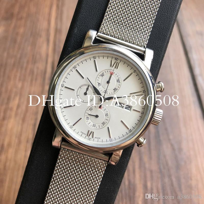Мужская качественная хронограф сталь из нержавеющей стали 41mm кварцевый бизнес ремешок часы часы часы Top Montre de luxe dmeav