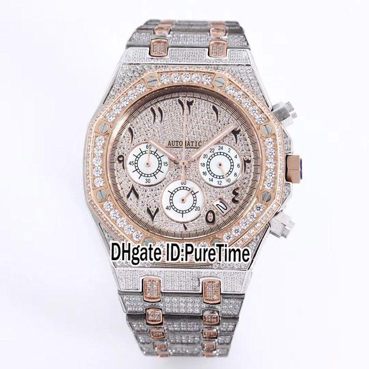2021 Royal Full Pavé Diamond Quartz Chronographe Montre Montre Deux Ton Ton Rose Or Arabe Numérums Marqueurs Silver Cadran Super édition PureTime 112f6