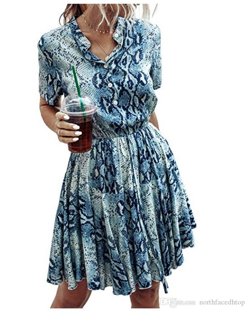 Divers imprimés Femmes Robes Bouton Slim Casual manches courtes Tether stand Collar Robes Mode Femmes Robes de soirée