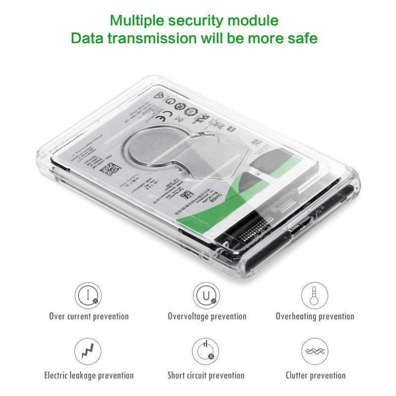 ORICO 2139U3-CR USB3.0 투명 외장 하드 디스크 상자 보관 케이스 9.5MM 2.5 인치 SATA HDD SSD 하드 디스크 인클로저