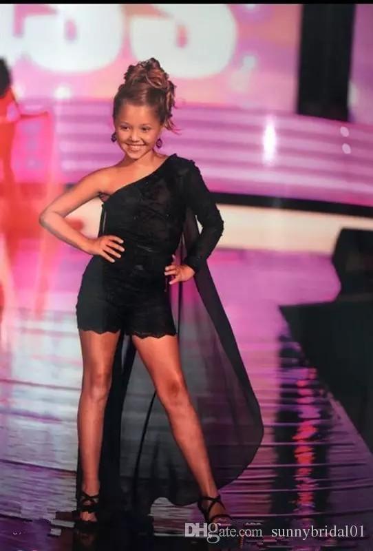 Cape Çocuk Yarışması Elbise Romper Tek Omuz Çiçek Kız Elbise İçin Akşam Partisi 2019 şifon Küçük Kız doğum günü partisi Elbise
