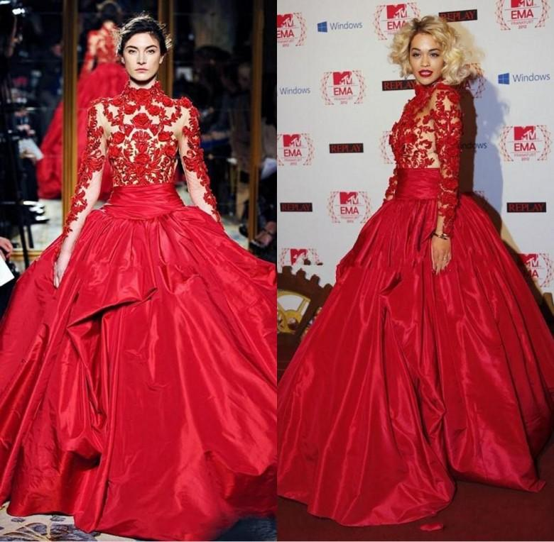 Zuhair Murad Red Evening Dresses Rita Ora in Marchesa Fall High Neck Red Carpet Dress Celebrity Party Gowns yousef aljasmi