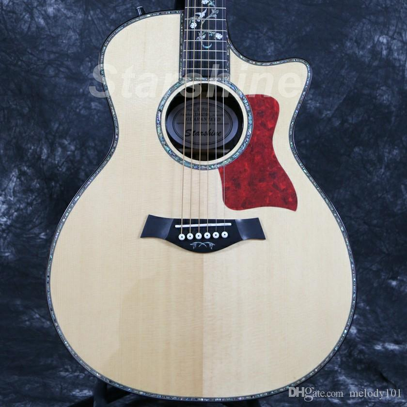 Starshine High Quality Electric Acoustic Guitar ZZ-TY16 40 B-Band Ebony Fingerboard Solid Top Abalone Inlay