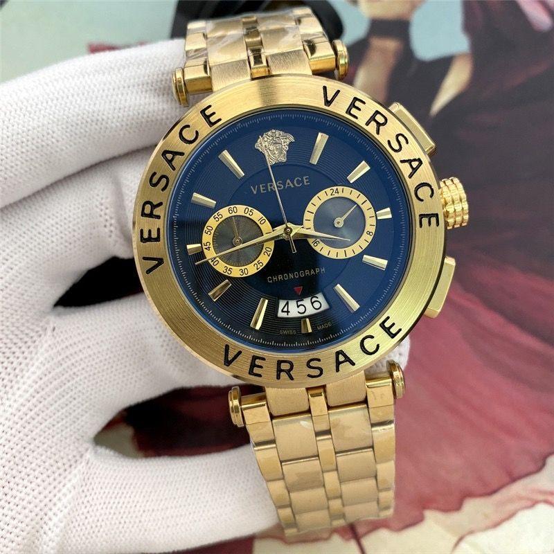 En vente chronographe 45mm quartz en acier inoxydable tous les montres hommes de la mode concepteur travail jour cadrans hommes Date cadeau montres pour hommes gros montre-bracelet