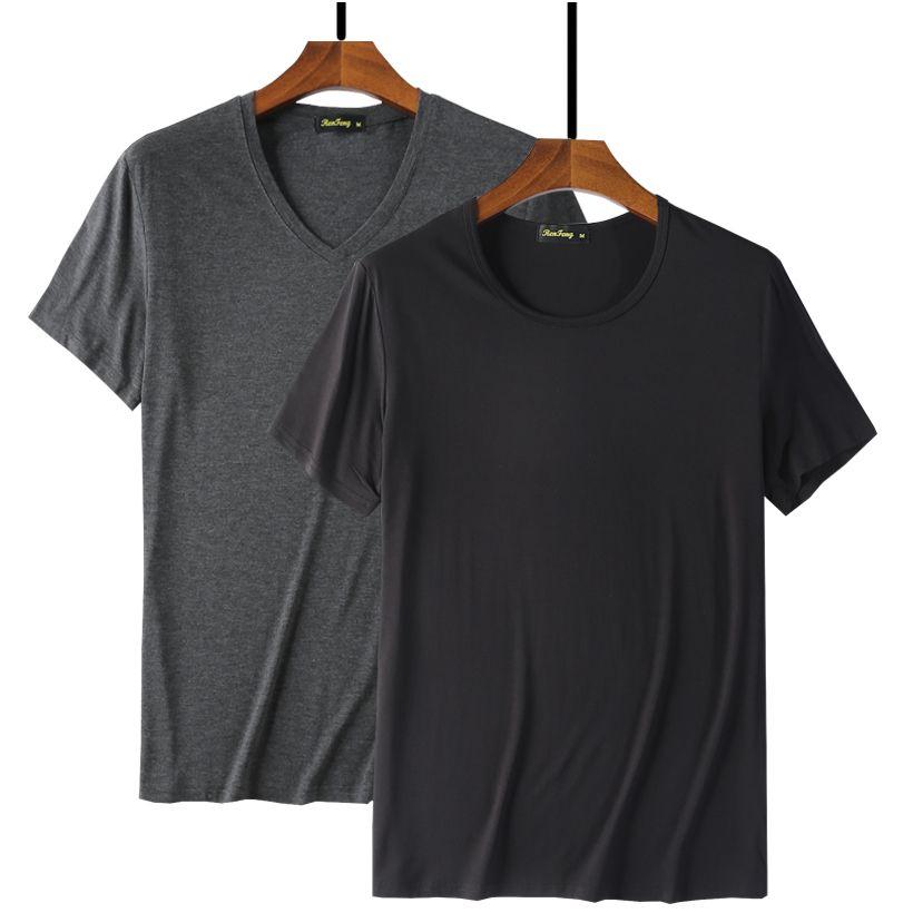 2019 Прохладный T Shirt Мужчины 95% Hip Hop волокна бамбука Basic пустой белый Tshirt Для Мужская мода Tshirt Summer Топ Tee Tops Plain Black Y200104