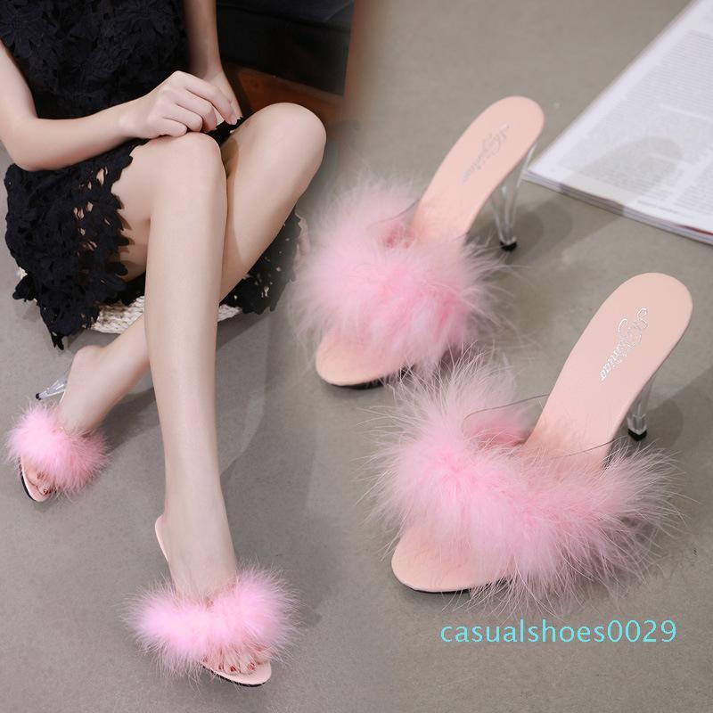 Mulheres Sexy Partido Fur Dress Shoes 10cm salto transparente Tamanho Grande 34-45 sandálias de sapatos de salto senhora sexy vestido de casamento Shoes c29