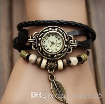 Hoja del árbol de la pulsera de cuarzo retro armadura de la manera Abrigo alrededor de piel de las mujeres del reloj del brazalete verde de la muchacha