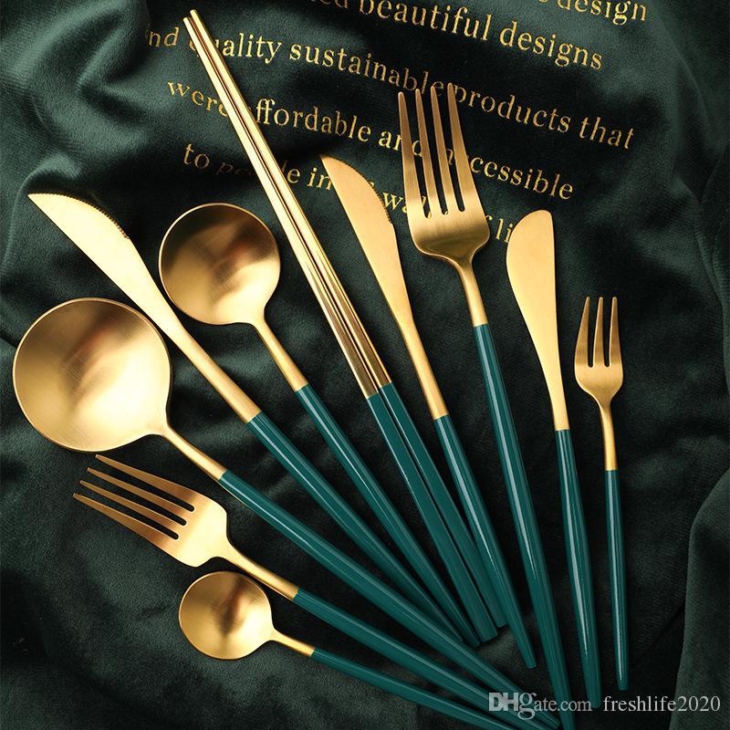 304 en acier inoxydable Miroir Arts de la table Couteau or repas cuillère fourchette cuillère à thé exquis Simple Couverts Western Dîner Couverts