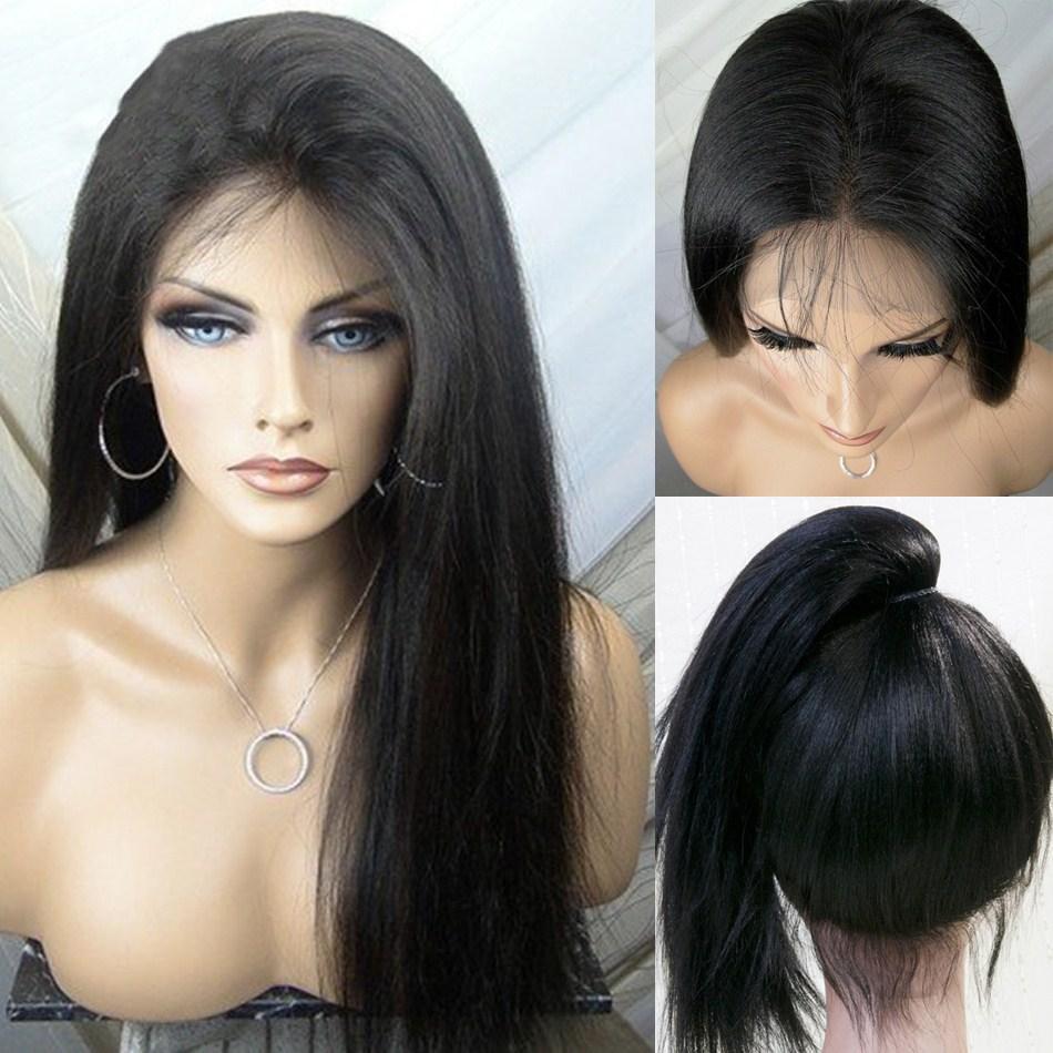 Parte anteriore del pizzo parrucca sintetica lunga nera Yaki calore resistente alle alte temperature merletto anteriore parrucche sintetiche per le donne con capelli del bambino 26 pollici