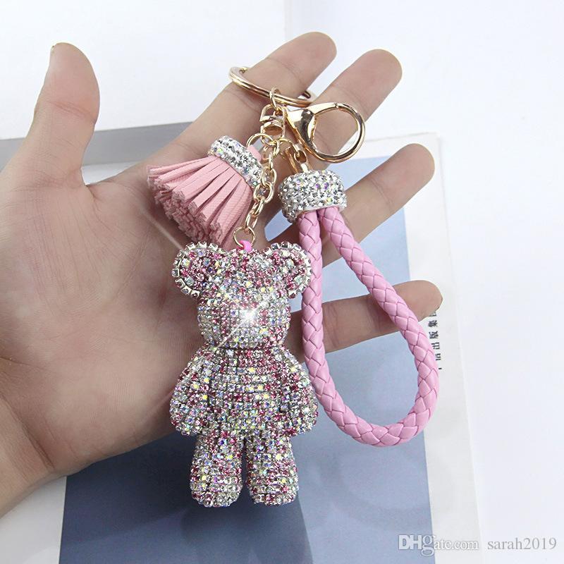 Cadena Cristal lindo oso clave cristalino chispeante monedero borla colgante de cuero trenzado encantos del anillo dominante del bolso