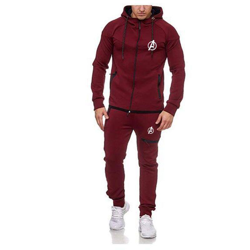 Mens Track Suit Set Casual Solid Mens Tracksuit Zipper Hoodie Long Sleeve Jackets Long Pants Two Pieces Suit Men Sweatsuits