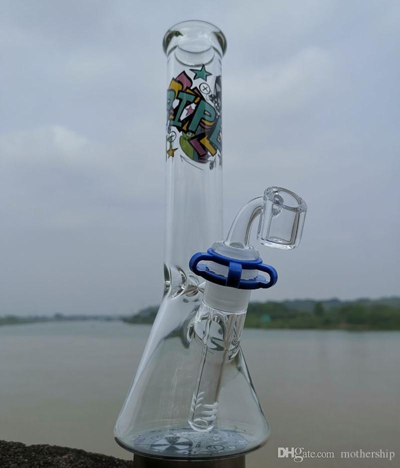"""10 """"Bong di vetro Bonger Pipa ad acqua Pipa grande Recycler con chiodo banger al quarzo o grande ciotola di vetro Oil Rigs"""