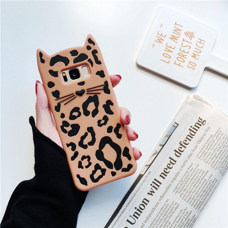 étui Téléphone Cas Mignon De Mode Pour Samsung Galaxy S7 S8 S9 S9 Drôle Armure De Silicone Souple 3d Léopard Kawaii Caractère Couverture Arrière Pour