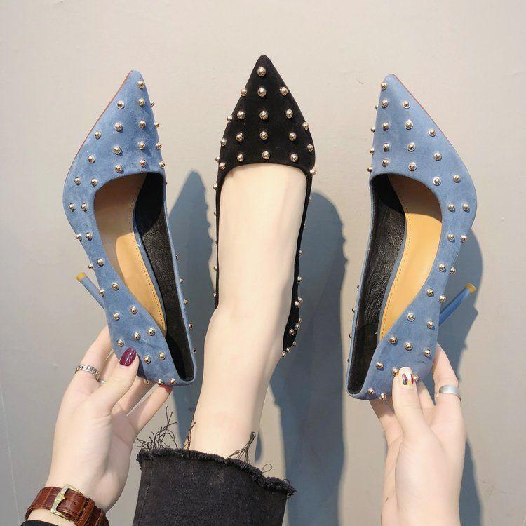 Туфли на высоком каблуке 2020 весной новый стиль замши Заклепки с мелкой рот профессиональной рабочей обуви остроконечной женские одиночные ботинки