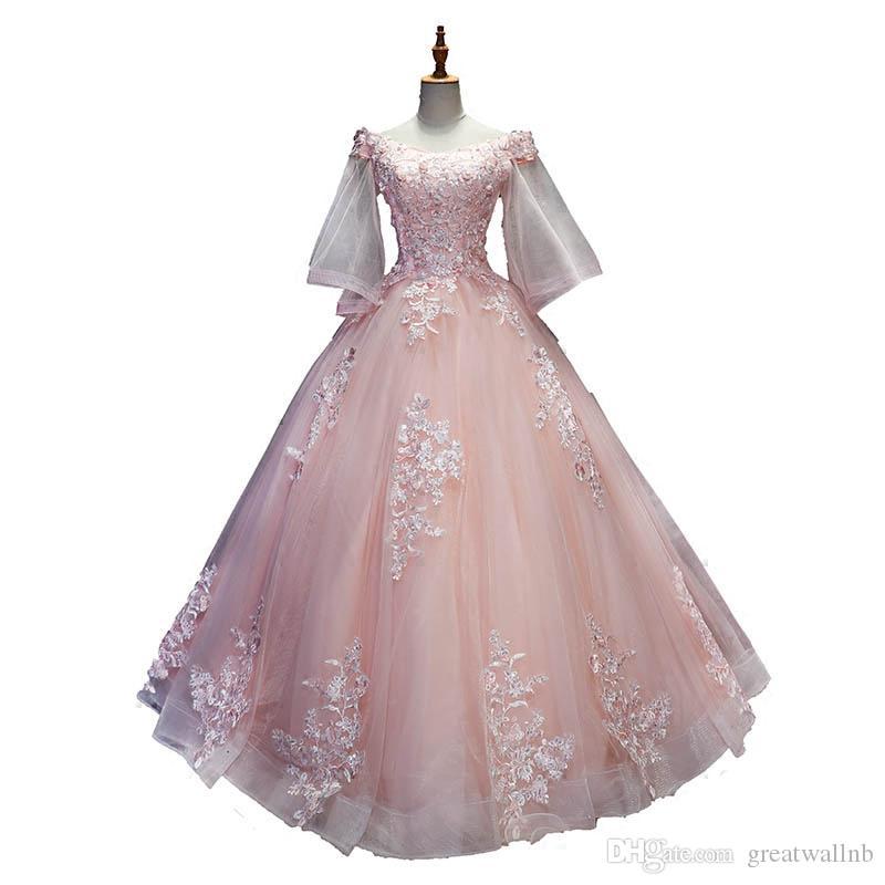 100% echte rosa / hellorange / hellblau Stickerei Rokoko Drama Kleid mittelalterlichen Renaissance Königin viktorianischen Kleid / kann Zollgröße