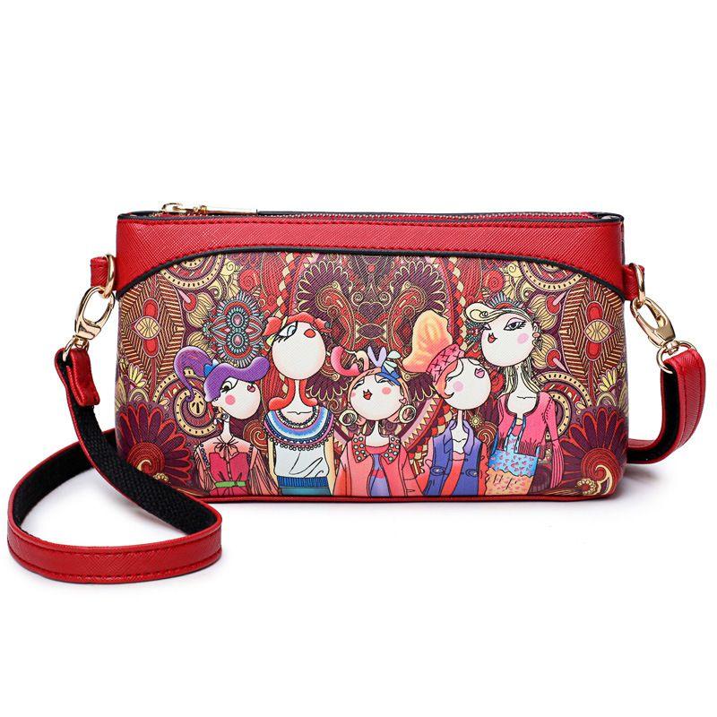 Women Leather Messenger Bag Fashion Cartoon Maiden forest Teenager Purse Ladies Long Straps PU Crossbody Bag