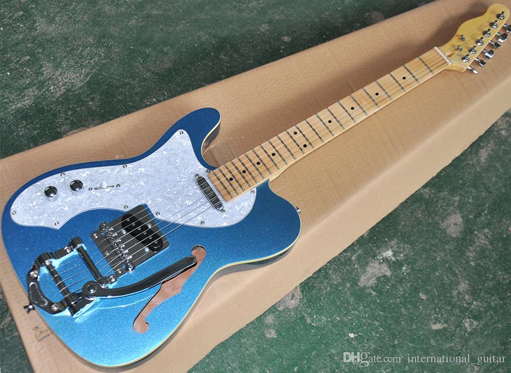 Gauchers bleu métallique semi-creuse Guitare électrique avec trémolo sytem, Blanc perlée pickguard, idéogramme Maple, peut être personnalisé